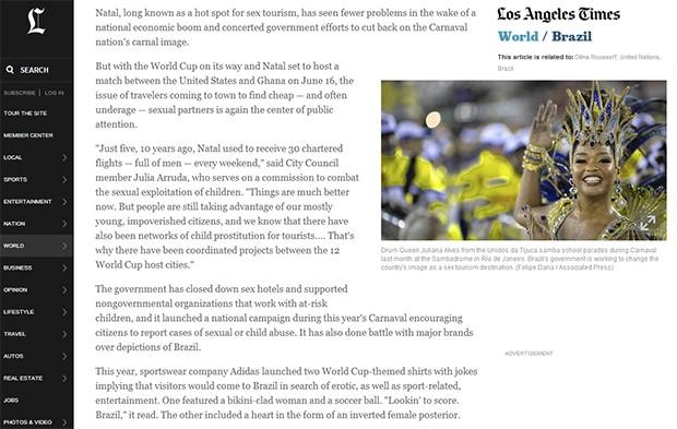 Notícia sobre o Brasil no Los Angeles Time com foto de Juliana Alves (Foto: Reprodução / Los Angeles Time)
