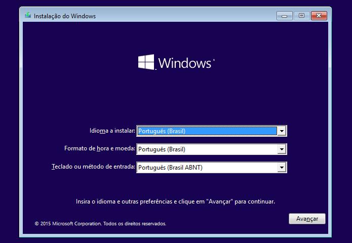 Configurando os parâmetros do instalador do Windows 8 ou Windows 10 (Foto: Reprodução/Edivaldo Brito)