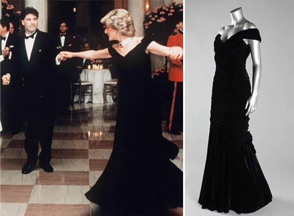 Diana dança com Travolta na Casa Branca vestindo o look by Victor Edelstein  (Foto: Reprodução)