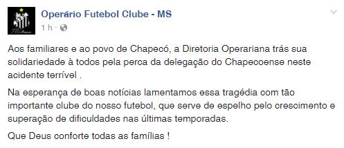 Operário-MS lamenta tragédia da Chapecoense (Foto: Reprodução/Facebook)
