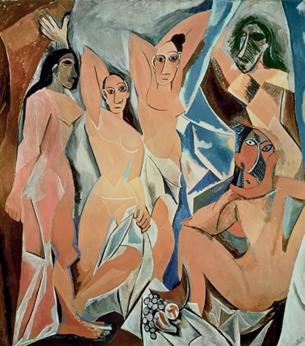 Les Demoiselles d'Avignon (1907), de Picasso.  (Foto: Chéri Samba / Fundação Louis Vuitton ,© Maurice Aeschimann, Bridgeman Images, ©adagp Paris Harold Jean, ©Rmn-grand Palais / Mathieu Rabeau e Divulgação)