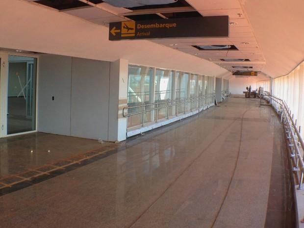 Obra do novo terminal do aeroporto de Goiânia Goiás (Foto: Luísa Gomes/G1)