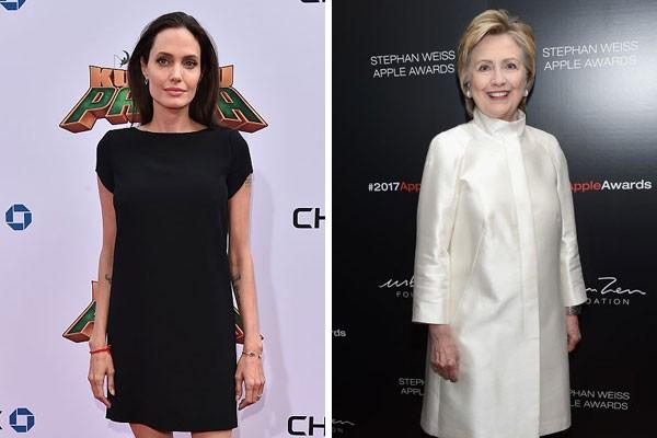 As primas de oitavo grau Angelina Jolie e Hilary Clinton (Foto: Getty Images)
