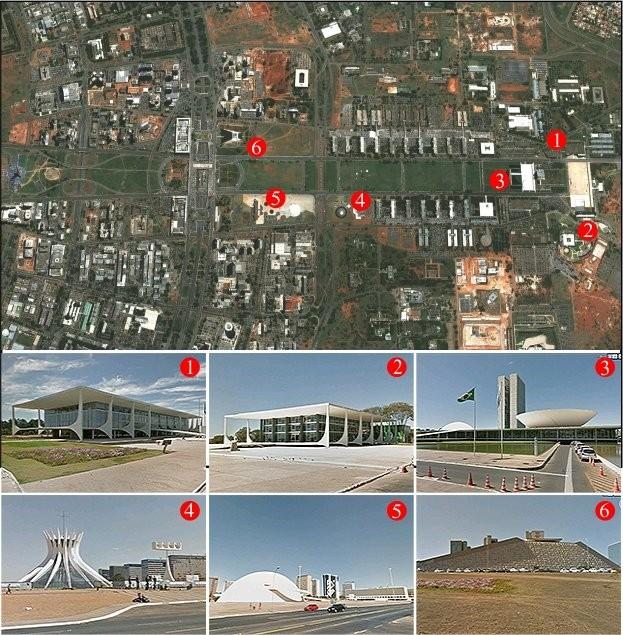 1-Palácio do Planalto; 2- Palácio do Alvorada; 3 -Congresso Nacional; 4- Catedral Metropolitana; 5-Museu Nacional da República; 6-Teatro Nacional. (Foto: Reprodução)