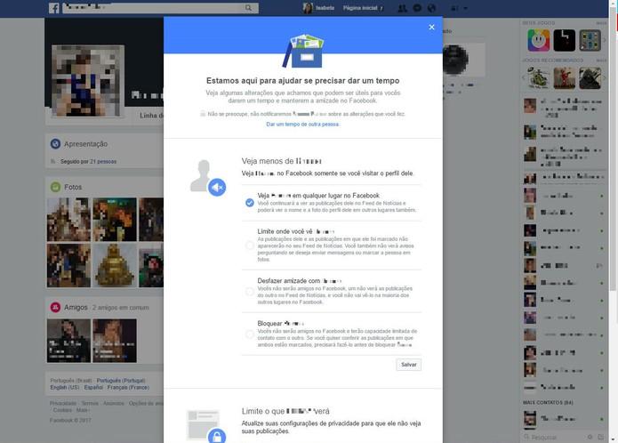 Escolha se quer ver menos do usuário no feed (Foto: Reprodução/Isabela Giantomaso)