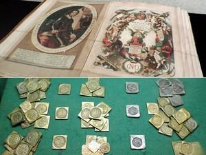 Primeiro livro produzido no Brasil sobre medicina e moedas utilizadas na Era Nassau (Foto: Débora Soares/G1)
