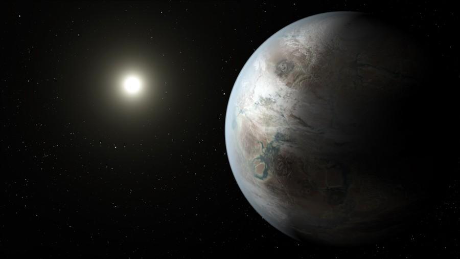Ilustração do que deve ser a aparência do Kepler-452b em relação a estrela que ele orbita (Foto: NASA/JPL-Caltech/T. Pyle)