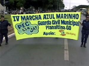 Guardas de São Carlos, Araraquara e Matão participaram de protesto em Brasília (Foto: Reprodução/EPTV)