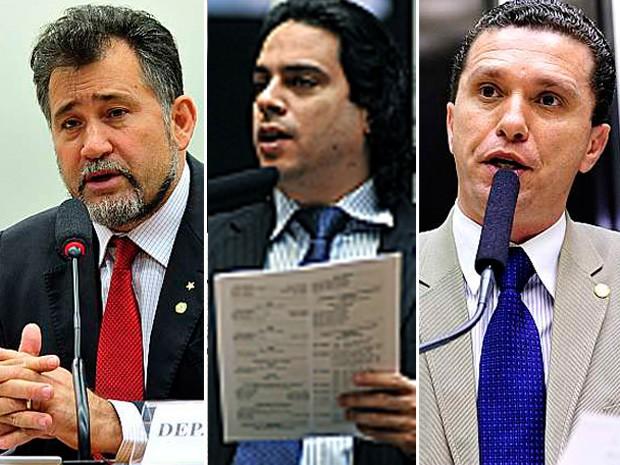 Os deputados Zé Geraldo, Vinicius Gurgel e Fausto Pinato foram sorteados para relatar processo de Eduardo Cunha no Conselho de Ética (Foto: Luis Macedo, Leonardo Prado e Gabriela Korossy / Câmara dos Deputados)