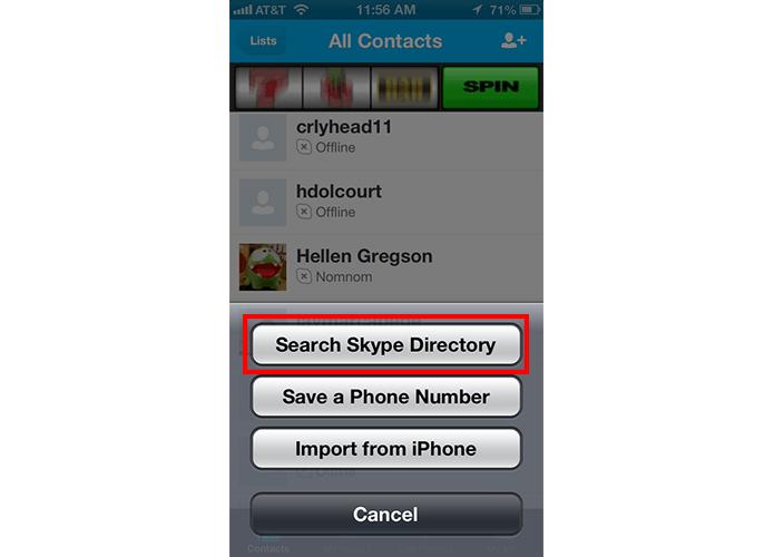 O primeiro botão o levará para o campo de busca do Skype (Foto: Reprodução/Paulo Alves)