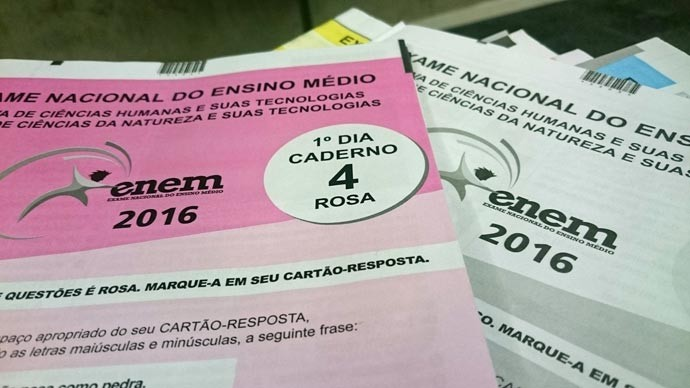 Caderno de provas do Enem 2016