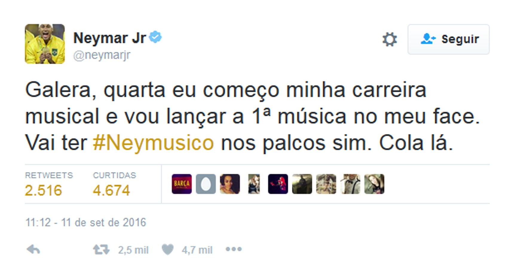 Neymar anunciou carreira musical (Foto: Reprodução/Twitter/Neymar Jr)