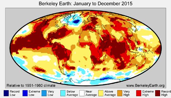 Temperatura de 2015 na Terra em comparação com a média de 1951-1980. As áreas em vermelho escuro indicam onde foram registradas os recordes de aumento de temperatura no planeta (Foto: Berkeley Earth)