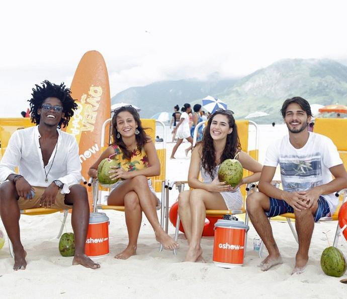 Maicon Rodrigues, Lara Coutinho, Lívian Aragão e Brenno Leone vão contar TUDO pra gente! (Foto: Artur Meninea/Gshow)