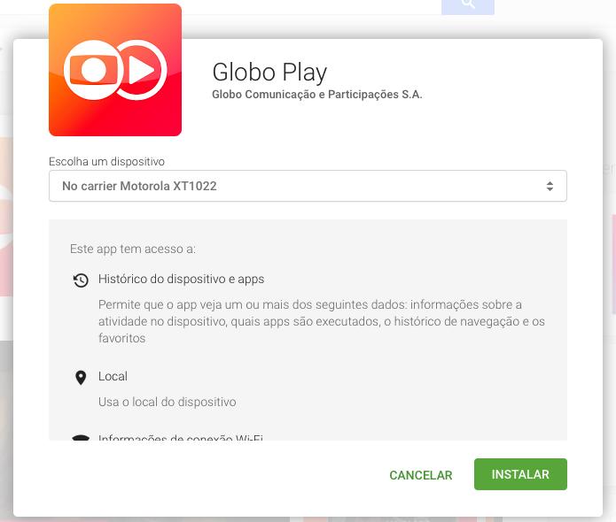 Escolha o aparelho em que você quer instalar o app (Foto: Reprodução/Helito Bijora)