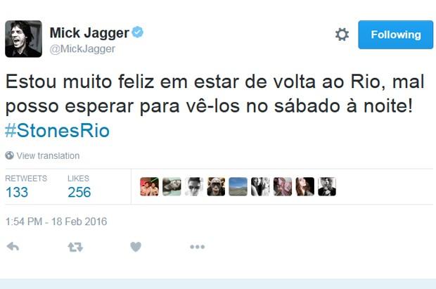 Post no perfil de Mick Jagger no Twitter antes de shows dos Rolling Stones no Brasil (Foto: Reprodução / Twitter)