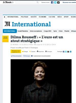 Página da edição virtual do 'Le Monde' com entrevista com a presidente Dilma Rousseff (Foto: Reprodução)