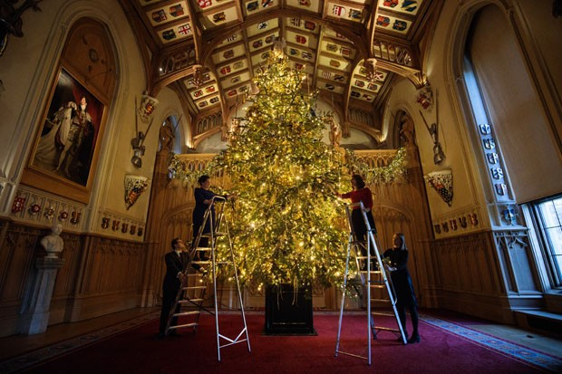WINDSOR, ENGLAND - NOVEMBER 23: Employees pose with a 20ft Nordmann Fir tree from Windsor Great Park in St George's Hall which has been decorated for the Christmas period on November 23, 2017 in Windsor Castle, England. The Windsor Castle State Apartments (Foto: Getty Images)