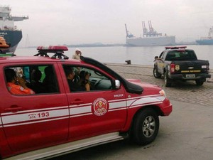 Simulado foi realizado no Porto de Santos (Foto: Orion Pires/G1)