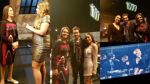 Carla Vilhena nos bastidores da gravação do DVD de Luan Santana com participações de Marília Mendonça, Anitta, Ivete e mais três musas do cantor (Foto: Fantástico)