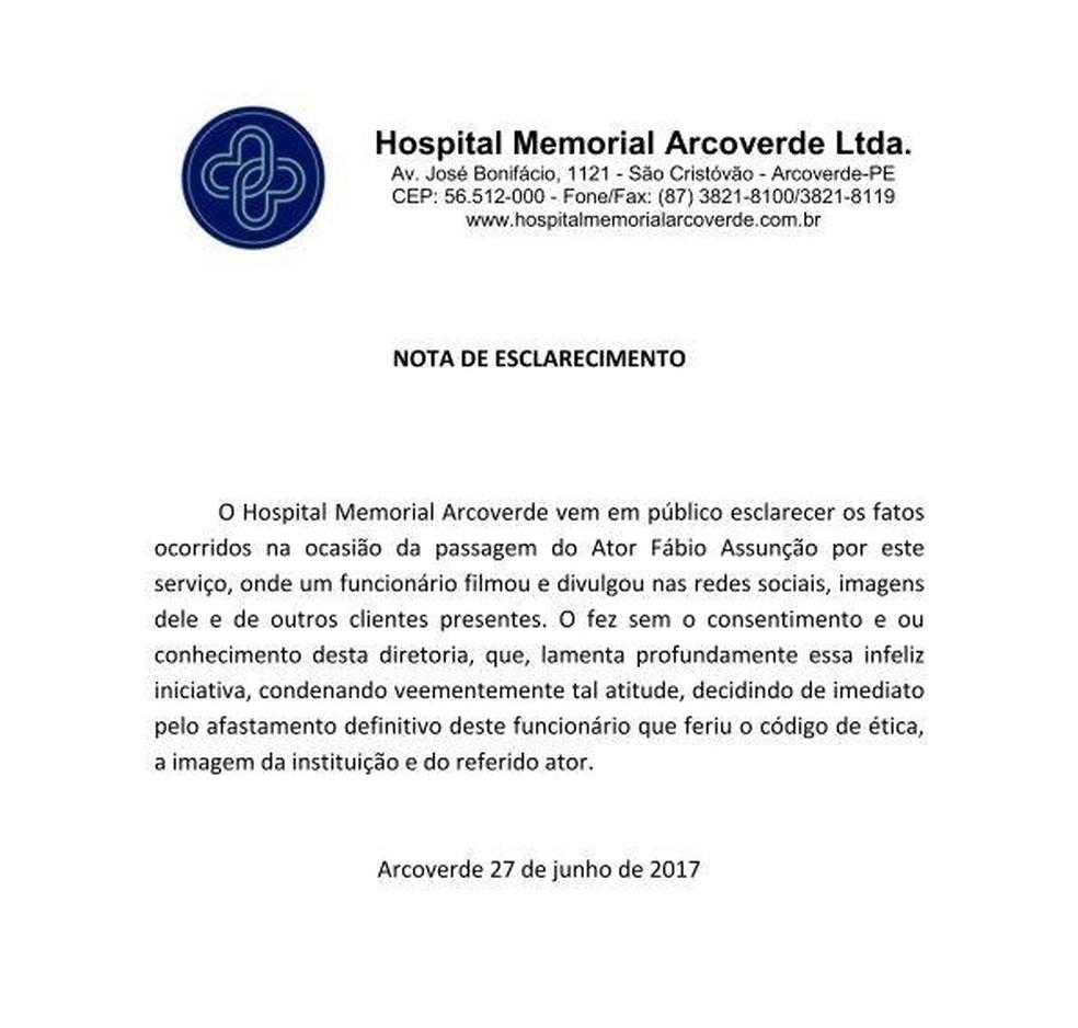 Hospital emitiu nota sobre a demissão do funcionário na terça-feria (27) (Foto: Hospital Memorial de Arcoverde/Divulgação)