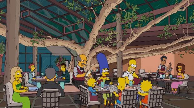 Família Simpson janta em restaurante paulista (Foto: Divulgação/Fox)