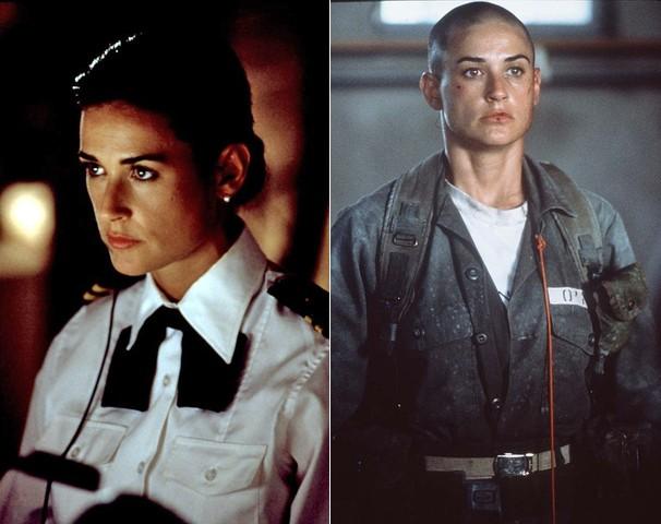 Demi Moore antes e depois de raspar os cabeols para viver uma tenente determinada em 'G.I. Jane' (Foto: Divulgação)