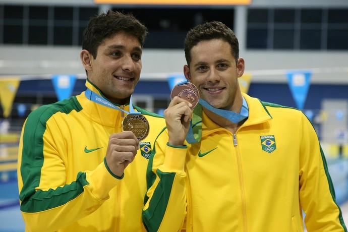 Thiago Simon e Thiago Pereira pódio 200m peito Pan de Toronto (Foto: Satiro Sodré / SSPress)