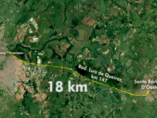 Aline percorreu 18 quilômetros até ponto de rodovia onde foi encontrada morta em Piracicaba (Foto: Reprodução/EPTV)