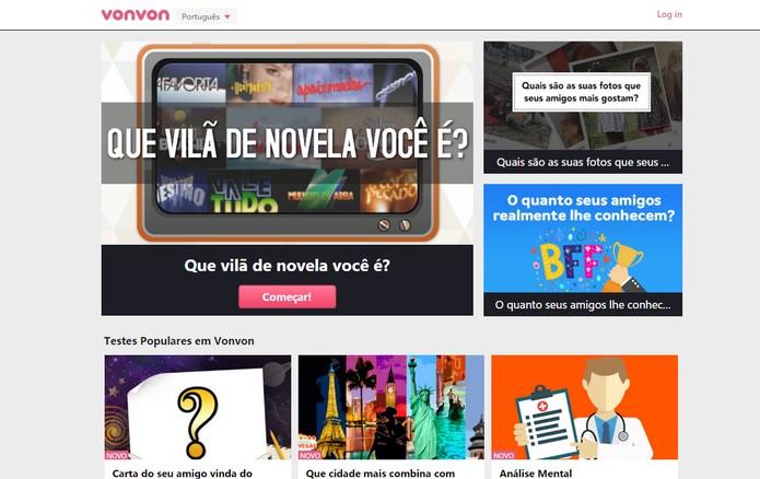 Testes da VonVon usam login com Facebook e são populares na rede (Foto: Divulgaçã