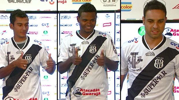 Nadson, Nikão e Gustavo são apresentados pela Ponte Preta (Foto: Reprodução EPTV)