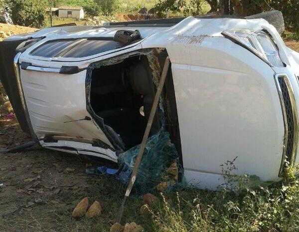 Veículo em que Jonas Paulo se encontrava capotou em uma estrada no município de Catolândia (Foto: Portal Oeste Bahia)