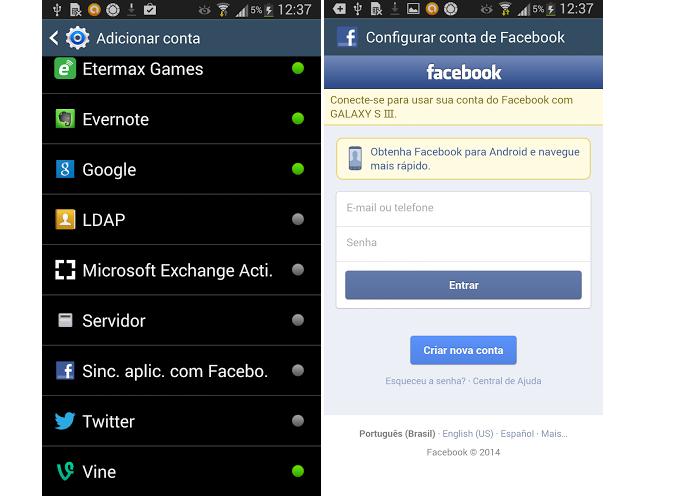 Sincronize os dados sobre o Facebook (Foto: Reprodução/Thiago Barros)