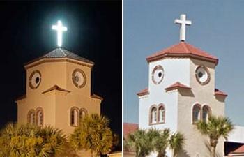 Montagem mostra torre de Church by the sea, igreja que lembra uma galinha na Flórida (Foto: Reprodução/churchbythesea.com e Google Street View)