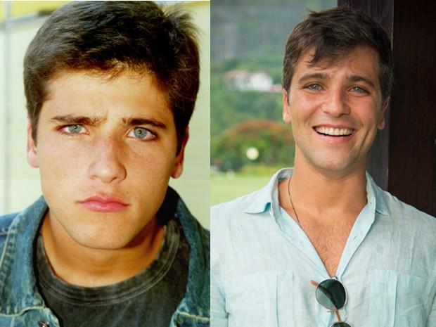 Antes e depois! À esquerda, Bruno Gagliasso em As Filhas da Mães (2001), e à direita, o ator nos bastidores de Babilônia (Foto: Ana Beatriz Cisneiros/Globo/Alex Carvalho )