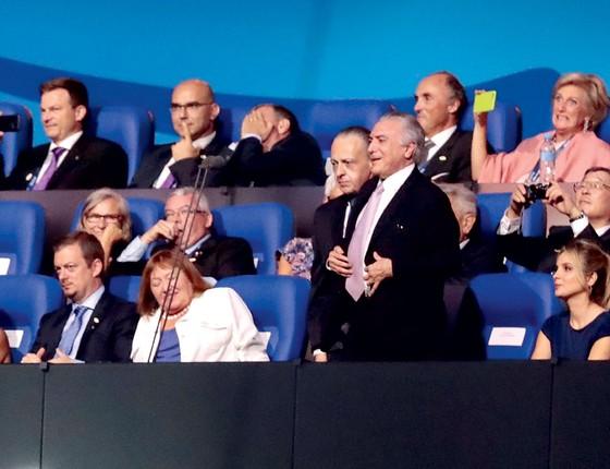 O Presidente Michel Temer é vaiado na abertura das Paraolimpíadas (Foto:  Alexandre Loureiro/Getty Images)