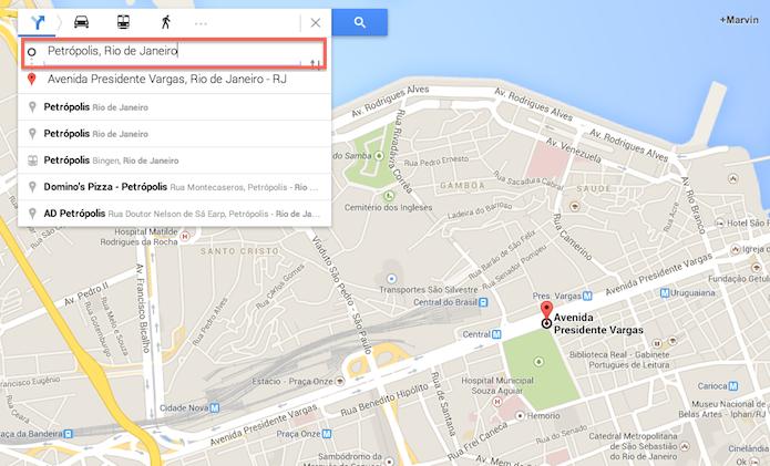 Definindo um destino para criar uma rota no Google Maps (Foto: Reprodução/Marvin Costa)