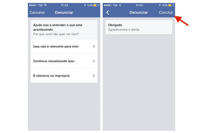 Finalizando a ocultação de um anúncio do Facebook pelo iPhone (Foto: Reprodução/Marvin Costa)