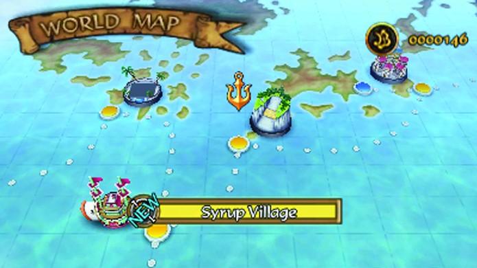 O mapa de Romance Dawn é dividido entre fases com história, ilhas a explorar e lojas (Foto: operationrainfall.com)
