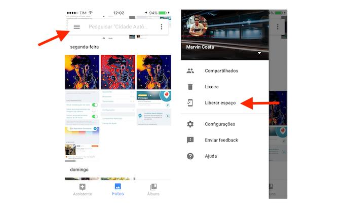 Acessando a opção para liberar espaço no iPhone através do Google Fotos (Foto: Reprodução/Marvin Costa)