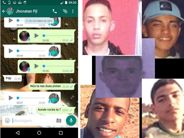 À esquerda, conversa entre Jonathan e amiga no dia 21 de outubro, segundo mostra o WhatsApp da garota; à direita: fotos dos cinco rapazes desaparecidos (Foto: Montagem/Reprodução/Arquivo Pessoal/ Polícia Civil de São Paulo)