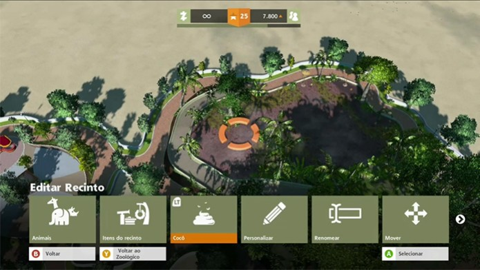 Zoo Tycoon oferece diversas opções de personalização de cenário (Foto: Reprodução/ Matheus Vasconcellos)