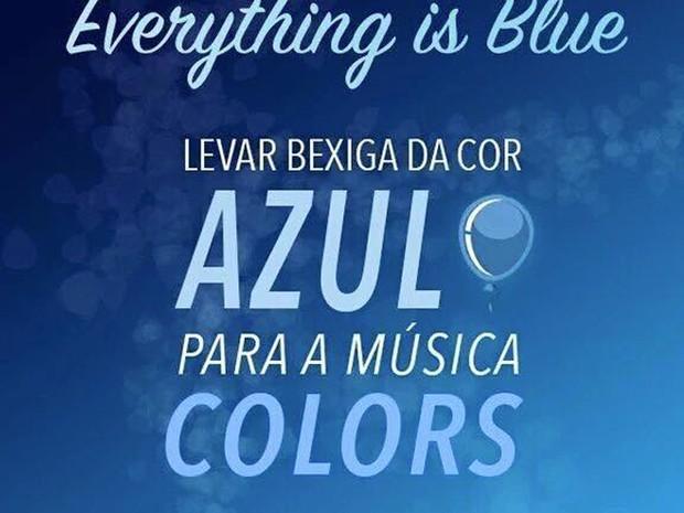 Fãs de Halsey planejam levarem bexigas azuis para surpreender a cantora na música 'Colors' (Foto: Reprodução / Facebook)