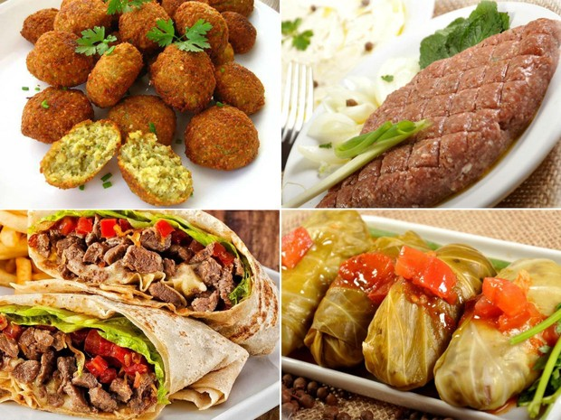 Diversos quitutes da culinária árabe servidos no restaurante (Foto: Divulgação / Pimenta Síria)