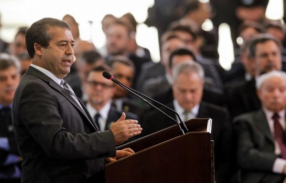 O ministro do Trabalho, Ronaldo Nogueira, durante a cerimônia de sanção da reforma trabalhista, no Palácio do Planalto (Foto: Beto Barata/PR)