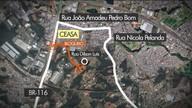Rua Dilson Luiz, pra quem vem da Linha Verde, está bloqueada