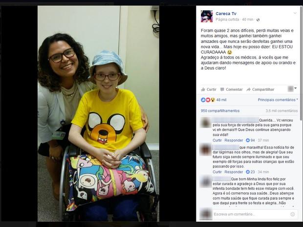 Lorena contou que estava curada em sua página no Facebook (Foto: Reprodução/Facebook/Careca TV)