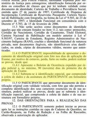 Trecho do edital do Enem 2013 sobre a perda de documentos (Foto: Reprodução/Inep)