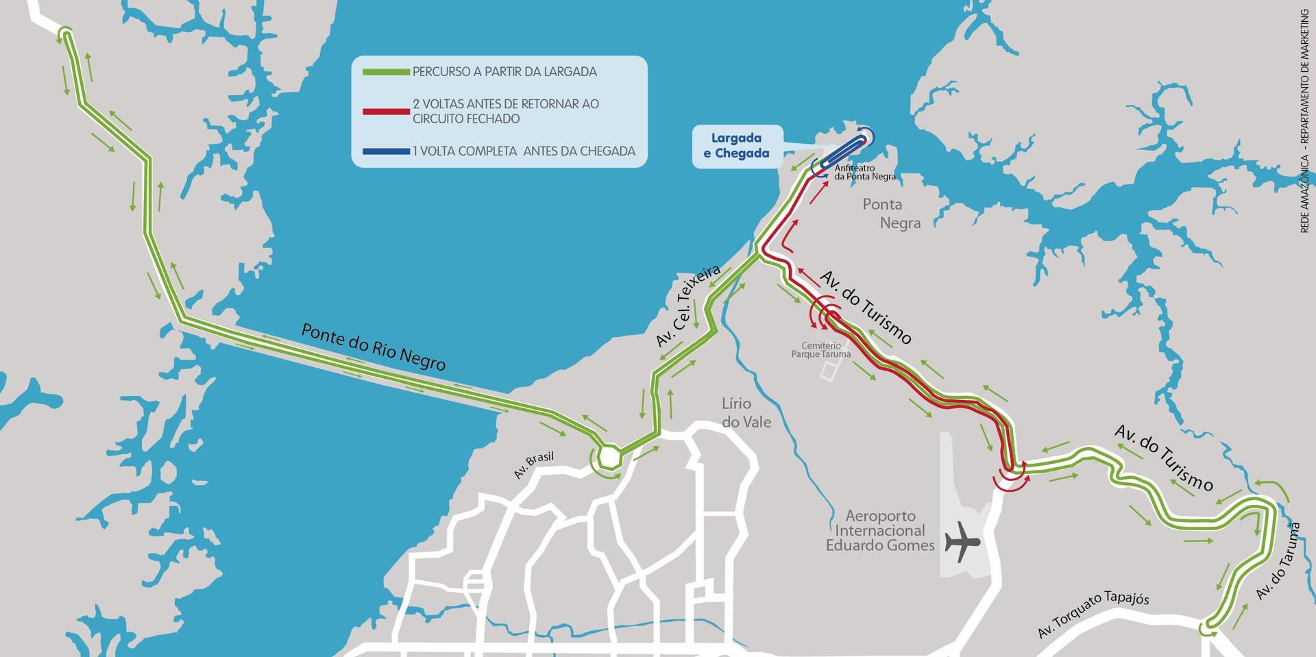 Mapa ciclísticas Aguinaldo e Amélia Archer Pinto Manaus Amazonas (Foto: TV Amazonas)