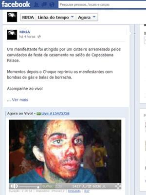 Rua Martins foi ferido por um cinzeiro durante protesto no Hotel Copacabana Palace (Foto: Facebook/Reprodução)